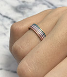 R925 Petite Steel Goud Pink Enamel_