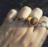 R589 Vintage Seal Tiger Eye CZ Gold Steel_