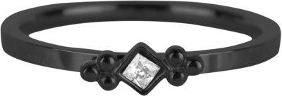 R630 Royal Square Black Steel Crystal CZ