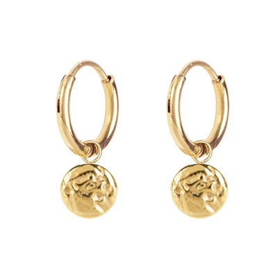 E54 Coin of Power Earrings Gold Steel