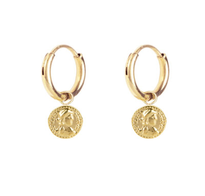 E52 Roman Coin Earrings Gold Steel