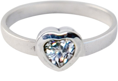 Ring KR09 'Crystal Love' White