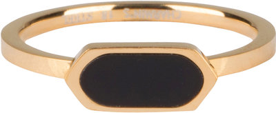 R672 Fashion Seal Squared Oval Gold Steel with Black Stone