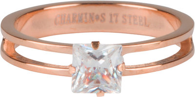 R661 Crystal CZ Clear Rose Gold Steel