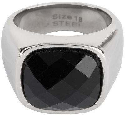 R586 Vintage Seal Black Faced CZ Shiny Steel