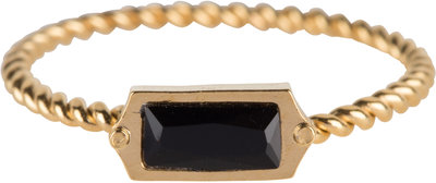 R632 Turned Gold Steel Rectangle Black CZ