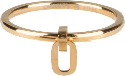 R707 Dangling Oval Gold steel