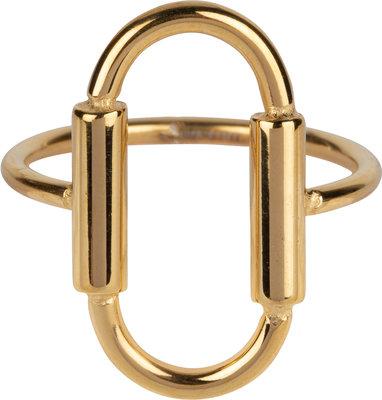 R643 Big Open Oval Gold Steel