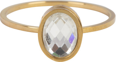 R727 Modern Oval Crystal CZ Gold Steel