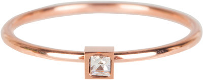 R502 Stylish Square Rose Gold Steel Crystal CZ