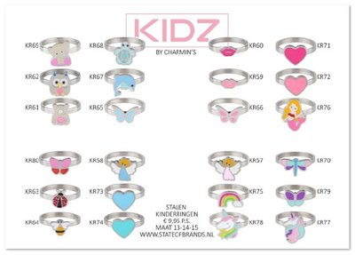 AA-KIDZ-02 KIDZ Display 45 rings Sweet Pink