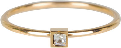 R501 Stylish Square Gold Steel Crystal CZ