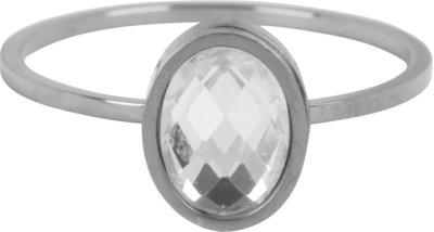 R726 Modern Oval Crystal CZ Shiny Steel