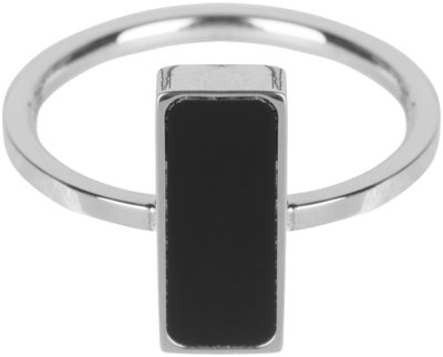 R536 Fashion Seal Rectangle Shiny Steel with Black Stone