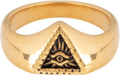 R677 Eye Triangle Gold Steel