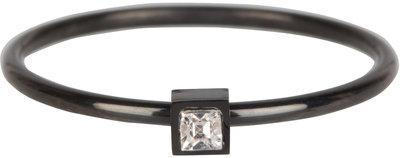R503 Stylish Square black Steel Crystal CZ