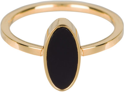 R533 Fashion Seal Oval Gold Steel with Black Stone