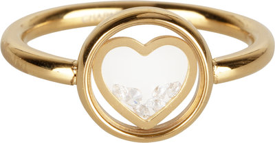 R961 Dancing love white crystal gold