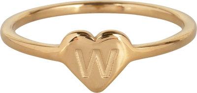 R1015-W Letter W In My Heart Gold