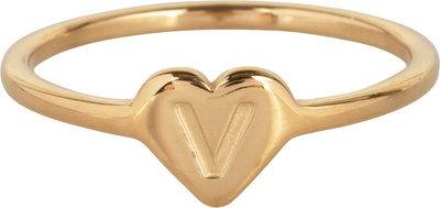 R1015-V Letter V In My Heart Gold