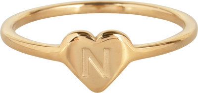 R1015-N Letter N In My Heart Gold
