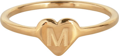 R1015-M Letter M In My Heart Gold