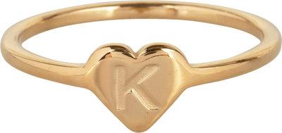 R1015-K Letter K In My Heart Gold