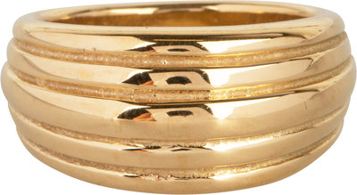 R992 Chunky Stripes Goldplated Steel Ring