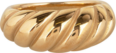 R996 Chubby Croissant Ring Goldplated Steel