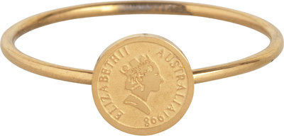 R963 Wish Coin Goldplated Steel Ring
