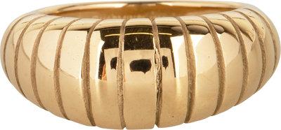 R998 Big Stripy Goldplated Steel Ring