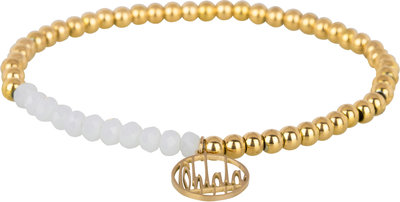 OHB30 Ohlala! Bracelet 4mm Gold and white crystal