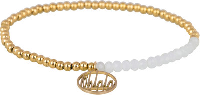 OHB18 Ohlala! Bracelet 3mm Gold and white crystal