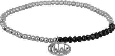 OHB20 Ohlala! Bracelet 3mm Shiny Steel and black crystal