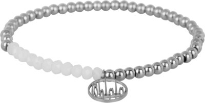 OHB29 Ohlala! Bracelet 4mm Shiny Steel and white crystal