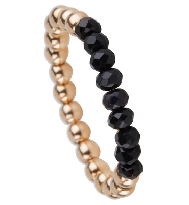 OHR170 Stretch Medium Gold Steel and Black Crystals