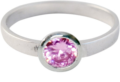 Ring KR03 'Round Diamond' Pink