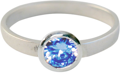 Ring KR04 'Round Diamond' Baby Blue