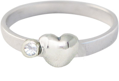 Ring KR33 'Cubic Diamond Heart and Diamond' White