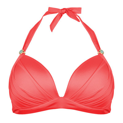 The Boho Lustrous Halter Coral Red
