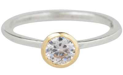 Ring R267 White 'Diamond Goldtop'