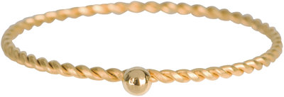 R525 Dot Twisted Ring Gold Steel