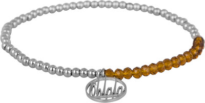 OHB26 Ohlala! Bracelet 3mm Shiny Steel and brown crystal