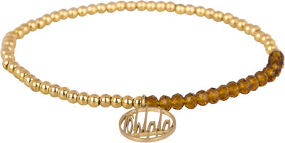 OHB27 Ohlala! Bracelet 3mm Gold and brown crystal