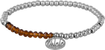 OHB38 Ohlala! Bracelet 4mm Shiny Steel and brown crystal