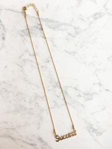 Succes Naam ketting Steel Gold 44+3cm